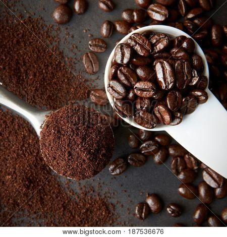 Scoop of roasted coffee beans, and a spoon of ground coffee