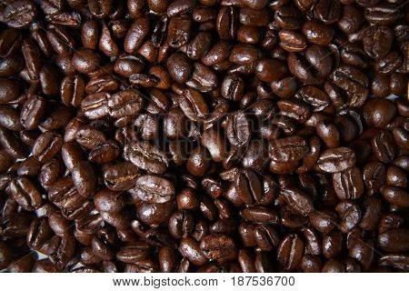 Roasted coffee beans, full frame, close up