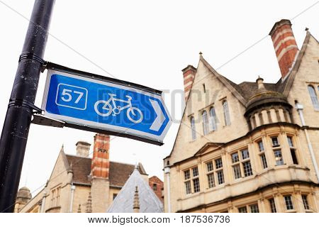 Close Up Of Sign For Cycle Path In Oxford City