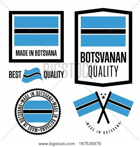 Botswana quality isolated label set for goods. Exporting stamp with botswanan flag, nation manufacturer certificate element, country product vector emblem. Made in Botswana badge collection.