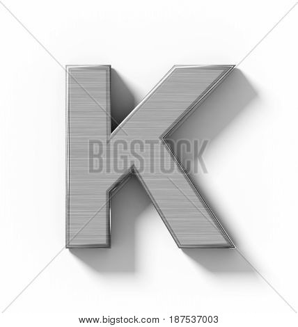 Letter K 3D Metal Isolated On White With Shadow - Orthogonal Projection
