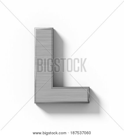 Letter L 3D Metal Isolated On White With Shadow - Orthogonal Projection