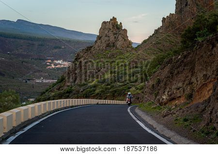 Road in the rocks of Tenerife to the popular Masca canyon. Night view. Canary islands, Spain.