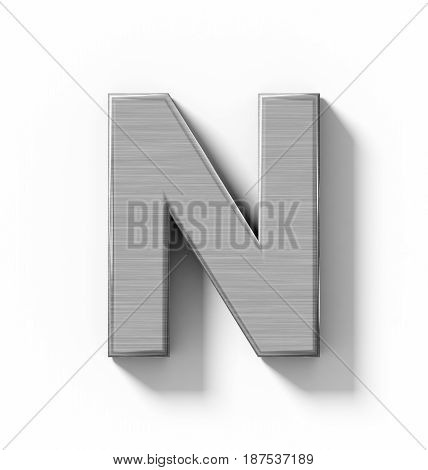 Letter N 3D Metal Isolated On White With Shadow - Orthogonal Projection