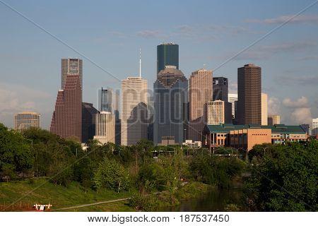 Houston Downtown Skyline with Bright Sun, Texas