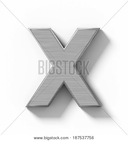 Letter X 3D Metal Isolated On White With Shadow - Orthogonal Projection