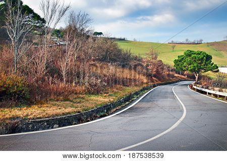 Winding Road In The Apennines Mountains