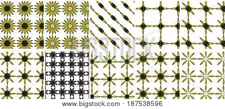 Summer seamless pattern with yellow sunflower flowers. Village endless background repeating texture. Vector illustration10 in 1 or ten in one mega pack bundle of sunflower pattern easy to apply on any background