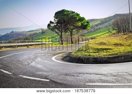Winding Road With Hairpin Bend