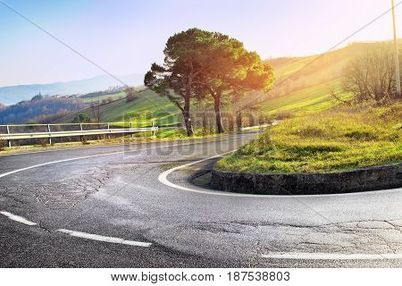 Hairpin Bend Of The Asphalt Road