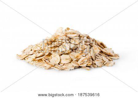 Oatmeal flakes isolated on white background