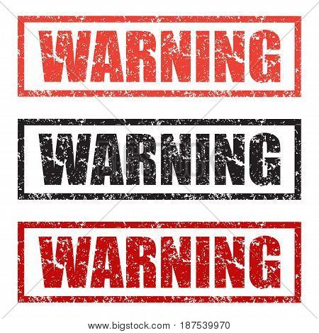 Warning stamp set in different colors on a white background
