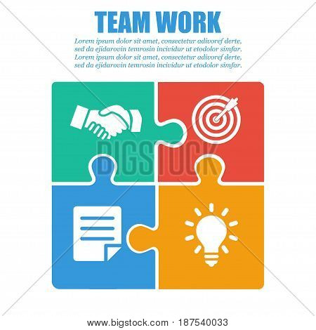 Cooperation teamwork. Successful solution puzzle. Symbol of partnership. Vector flat design
