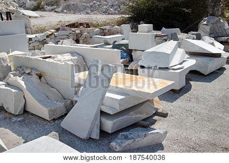 White marble blocks near Carrara, Italy. Marble industry