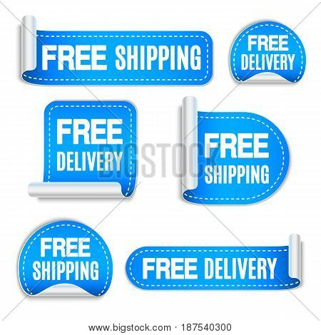 Set of free shipping and free delivery blue labels or stickers