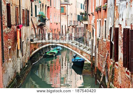 Beautiful Narrow Canal In Venice