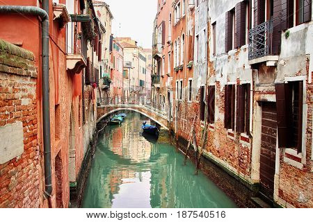 Beautiful Old Canal In Venice, Italy.