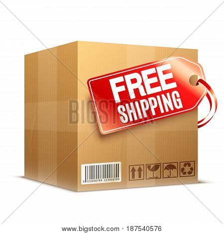 Big cardboard box with free shipping label