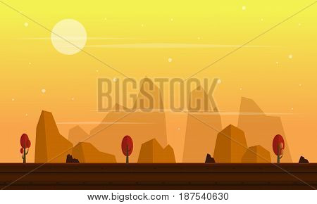 Collection stock game background cliff scenery vector flat