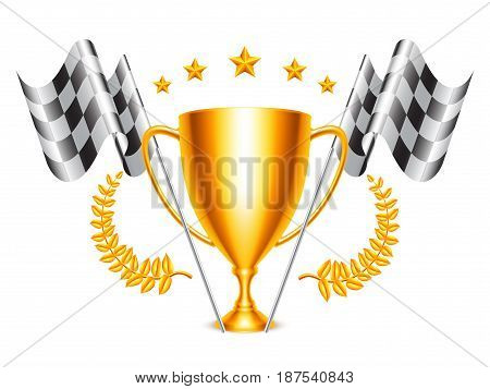 Golden trophy cup and checkered flags isolated on white background