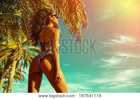Sexy Hot Woman Model With Dark Hair In Colorful Bikini Posing On Summer Beach