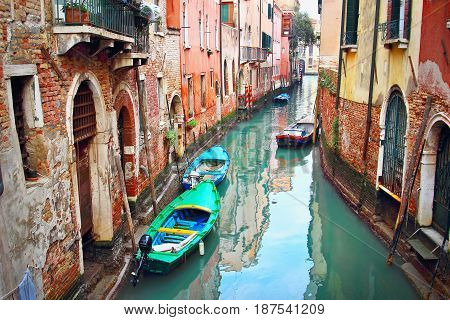 Winding Narrow Canal In Venice, Italy