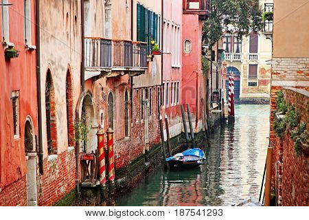 Old Narrow Canal In Venice, Italy