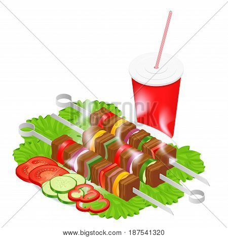 Barbecue design elements. Grill summer food. Picnic cooking device. Flat isometric illustration. Family weekend. BBQ is both a cooking method and an apparatus