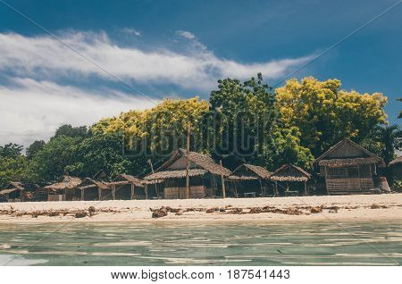 Houses By The Beach In Bantayan Island In The Province Of Cebu