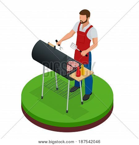 Male preparing barbecue outdoors. Grill summer food. Picnic cooking device. Flat isometric illustration. Family weekend. BBQ is both a cooking method and an apparatus