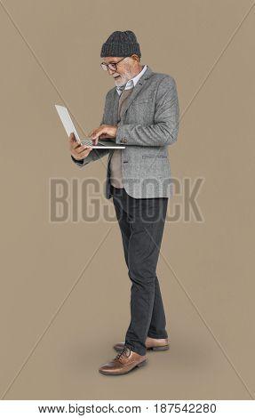 Caucasian Old Mature Man Laptop Smiling
