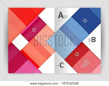 modern geometrical a4 flyer brochure template, annual report print template with infographics abc options