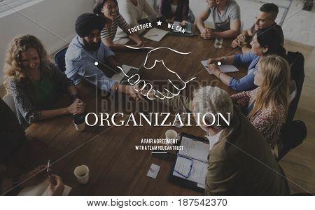 Partnership Teamwork Support Cooperation Achievement Organization Handshake Graphic