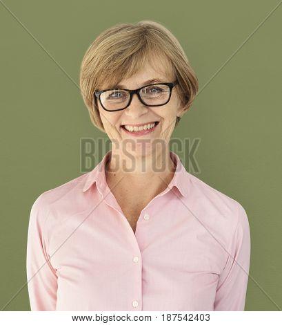 Senior Adult Woman Smiling Happiness Studio Portrait