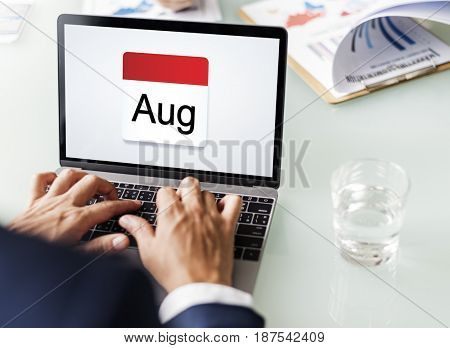 Illustration of calendar schedule planning on laptop