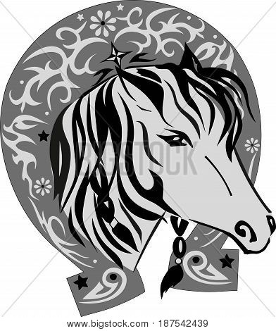 Vector silhouette of a horse with a horseshoe, a pet with a good luck symbol, a horse illustration the head, a pattern on an iron subject, a long mane with braids