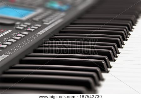 3D render illustration of the macro view of black professional digital musical piano synthesizer with LCD display screen buttons and other controls with selective focus effect