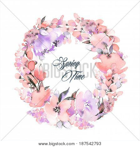 Watercolor frame with lovely pink flowers. Floral wreath. Can be used for mothers day valentines day birthday cards wedding invitations.