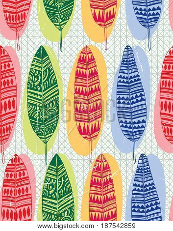 Seamless pattern from the drawn colorful feathers.