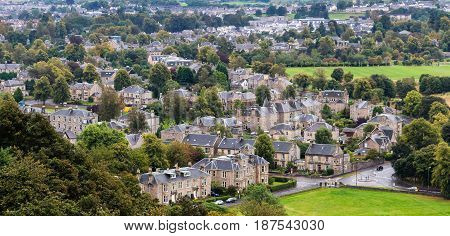 Aerial view of Stirling Old Town Scotland in a wet day.