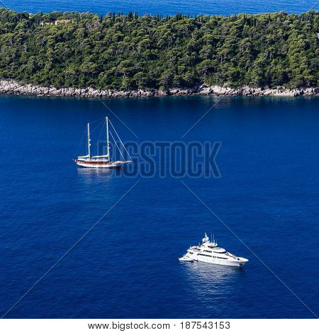 Recreational Boats Beside Lokrum Island In Dubrovnik Coast, Croatia