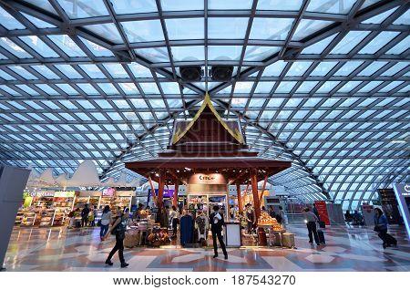 BANGKOK THAILAND- MAY 16 2017: Passagers waiting at departure gate and hall in the new Airport Suvarnabhumi in Bangkok
