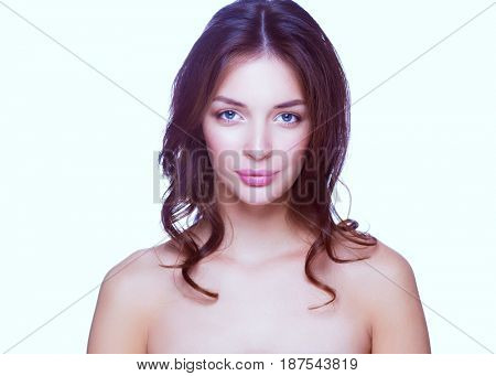 Close up portrait of beautiful young woman face. Isolated on white background.