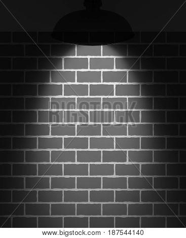 Stone brick wall illuminated spotlight. Free space for your text.