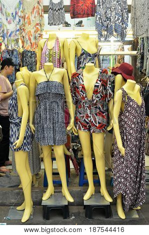 BANGKOK THAILAND- MAY 19 2017: Clothes for sale at Chatuchak weekend market. It is one of the largest market in Asia.