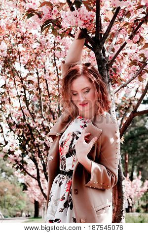 Young girl posing for a photo. Flowering pink trees in the background. Spring. Sakura