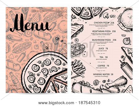 Hand drawn restaurant menu design. Cafe price catalog, junk food card with snack linear sketches. Snack vector promotion with hand drawn pizza, french fries, hot dog, chicken, drink pencil doodles.