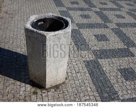 Grey Concrete Litter Bin In City Center