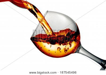 Dry White Wine Is Poured Into A Glass