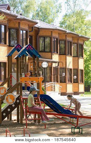 Slutsk, Belarus - May 20, 2017: Children Play In The Playground At The Recreation Center Sluch